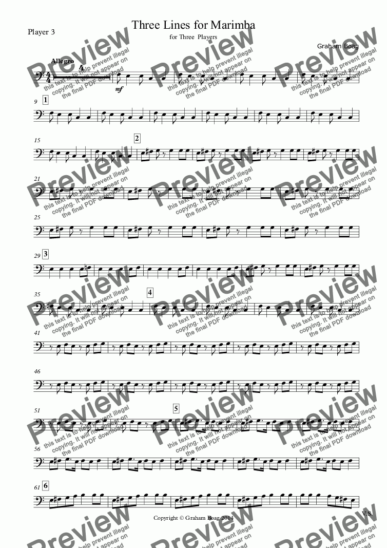 page one of the Player 3 part from Three Lines for Marimba