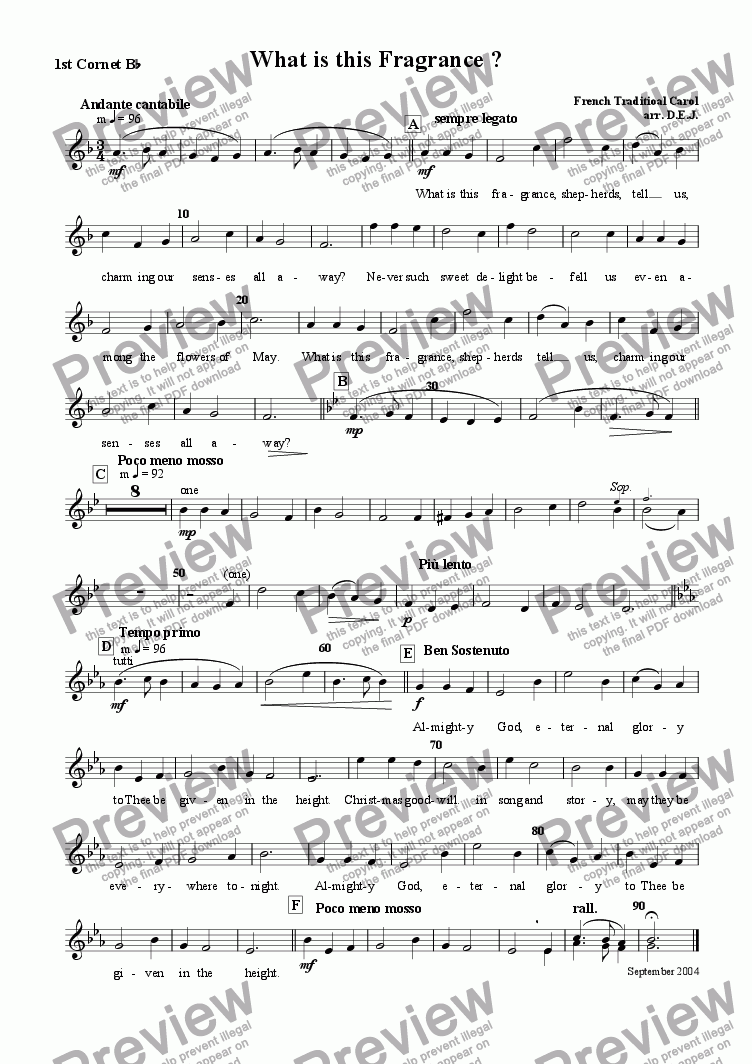 page one of the 1st Cornet Bb part from What is this fragrance?