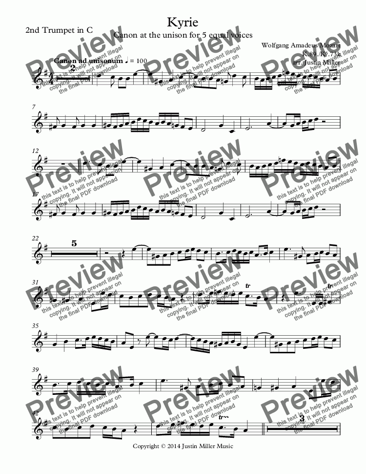 page one of the 2nd Trumpet in C part from Kyrie