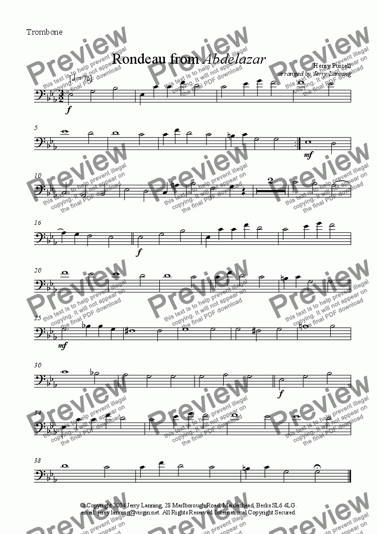 page one of the Trombone part from Rondeau from Abdelazar (brass quintet)