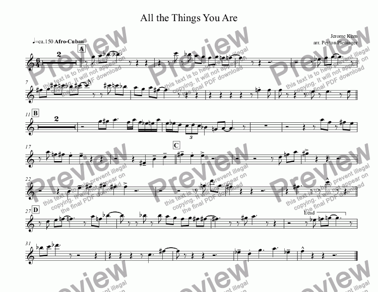 page one of the Tenor Sax part from All the Things You Are