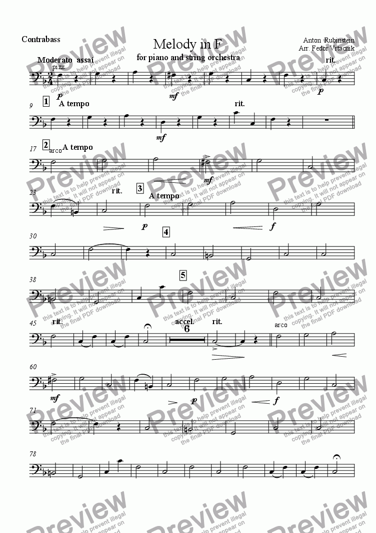 page one of the contrabass part from MELODY IN F