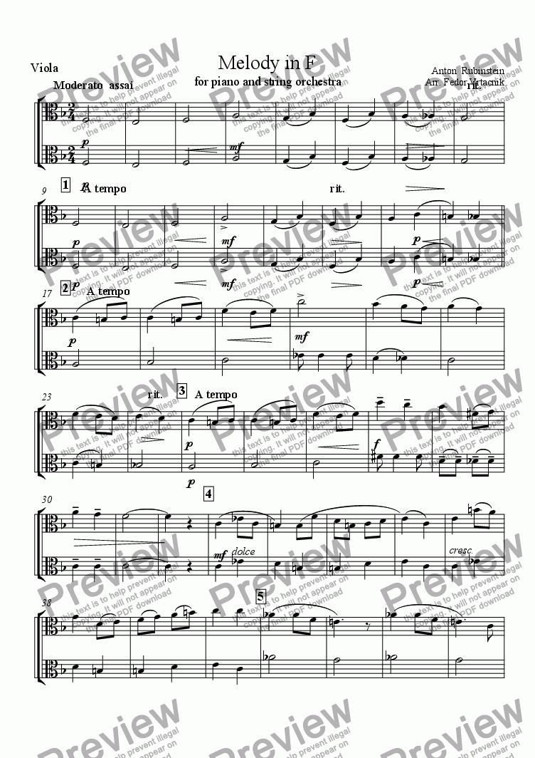 page one of the viola part from MELODY IN F