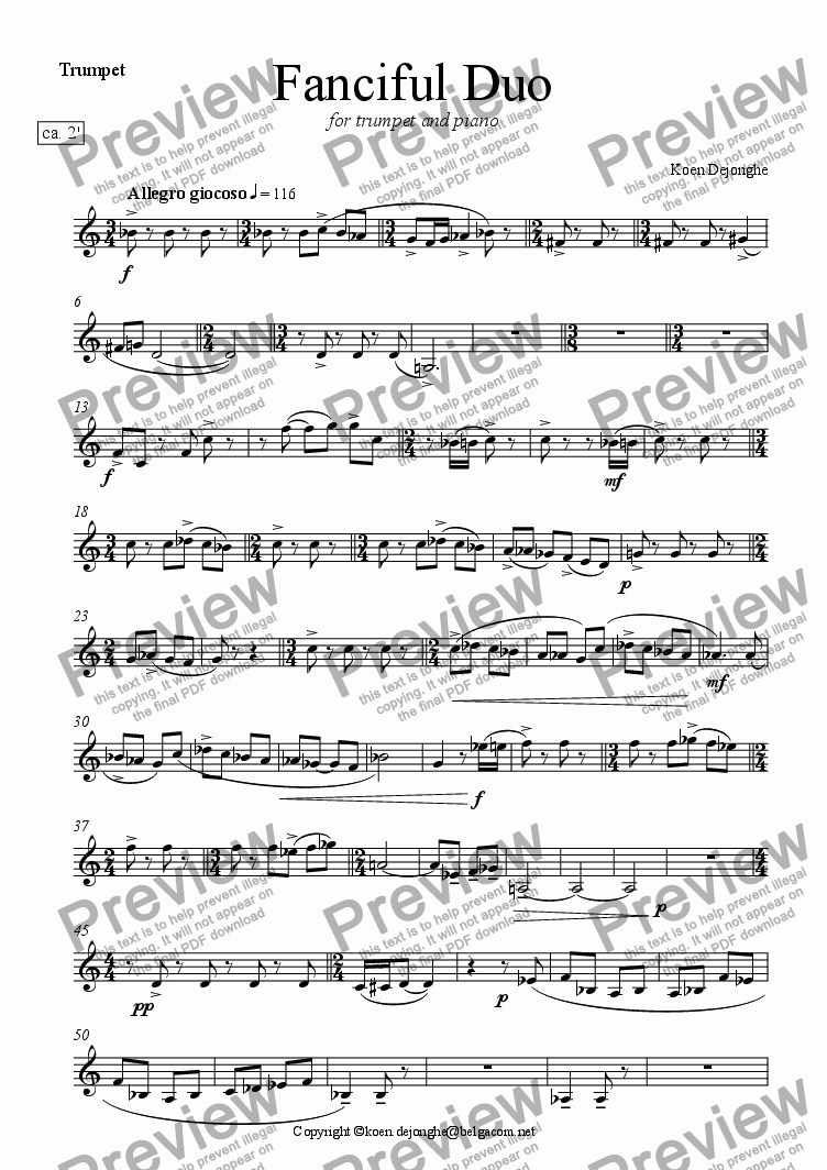 "page one of the Trumpet in C part from ""Fanciful Duo"" for Trumpet and Piano"
