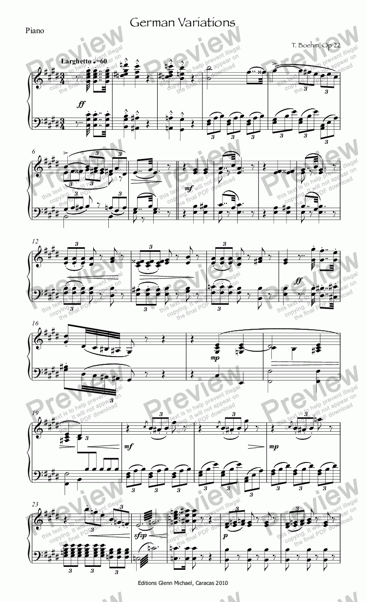 page one of the Piano part from Boehm German Variations for flute & piano