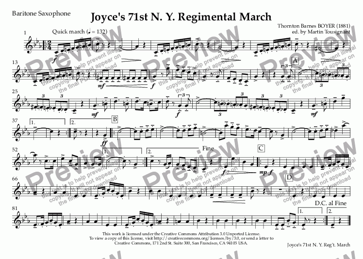 page one of the Baritone Saxophone part from Joyce's 71st N. Y. Regimental March