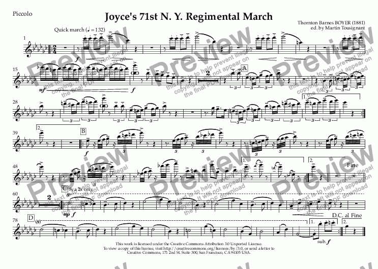 page one of the Piccolo part from Joyce's 71st N. Y. Regimental March