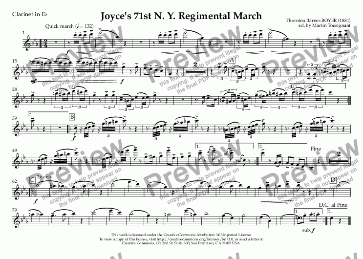 page one of the Clarinet in E^b part from Joyce's 71st N. Y. Regimental March