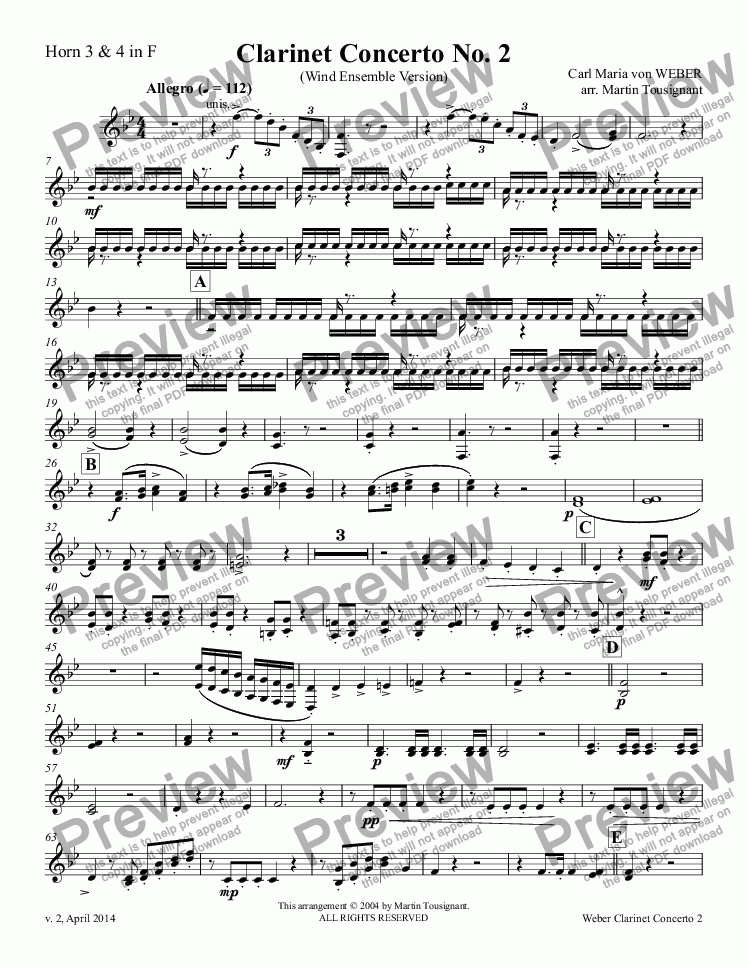 page one of the Horn 3 & 4 in F part from Clarinet Concerto No. 2