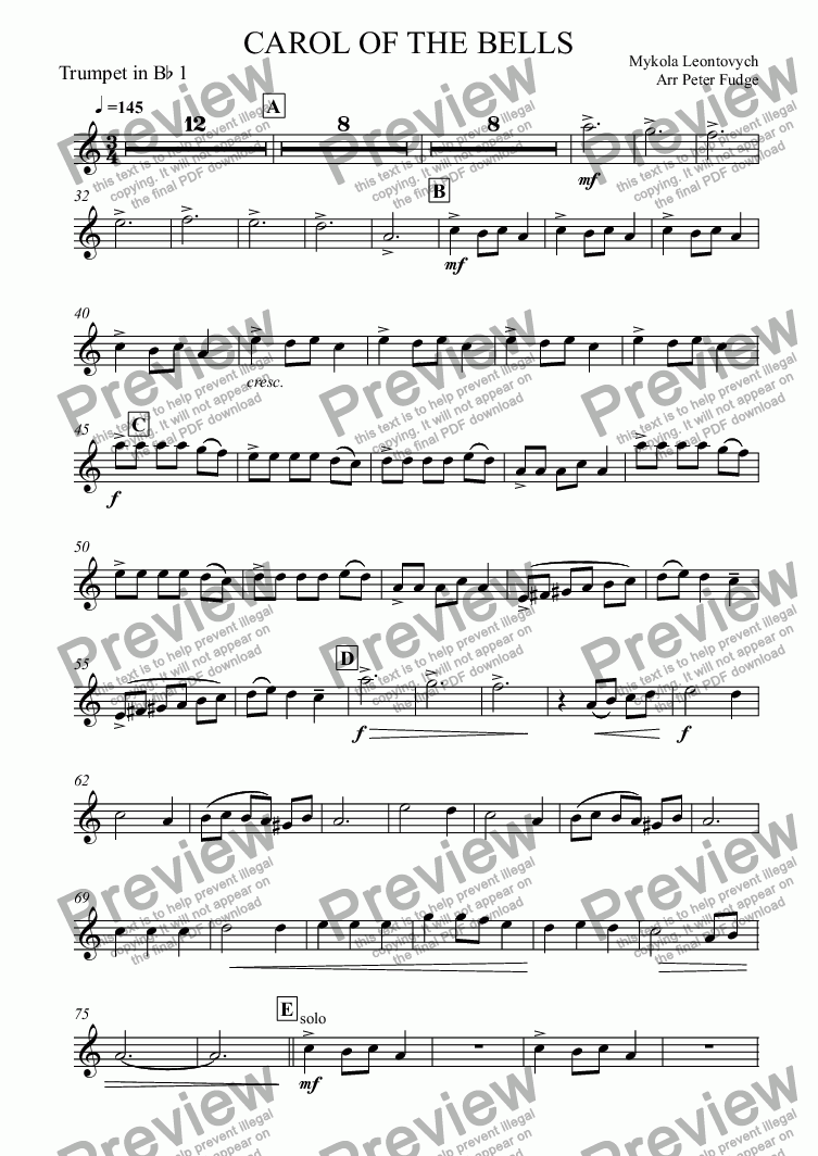 page one of the Trumpet in B^b 1 part from CAROL OF THE BELLS