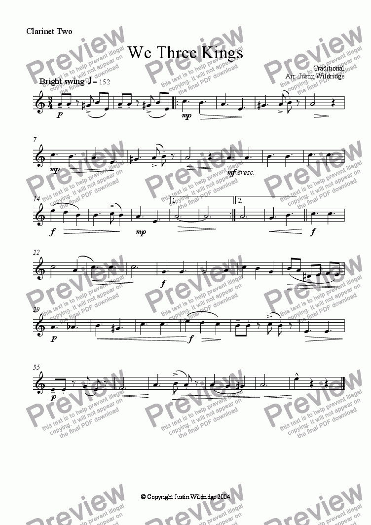 page one of the Clarinet Two part from We 3 Kings of Orient Are