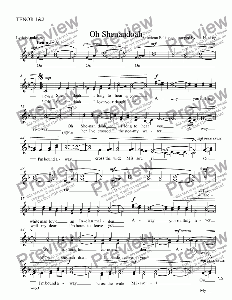 All Music Chords sheet music shenandoah : TENOR 1&2 part from Oh Shenandoah (for male voices) - PDF