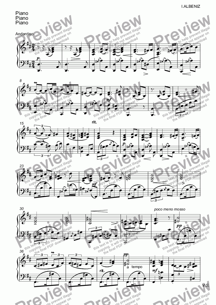 page one of the Piano part from Tango.