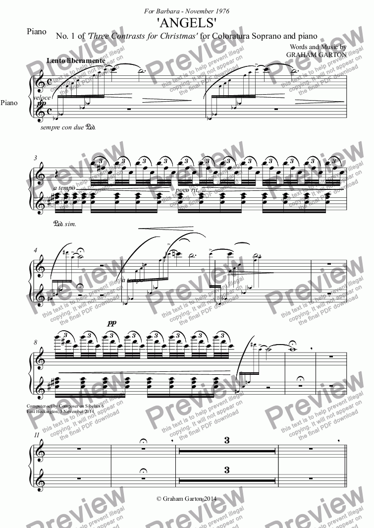 page one of the Piano part from CHRISTMAS MUSIC - 'ANGELS' No.1 of 'Three Contrasts for Christmas' for Coloratura Soprano Voice and Piano
