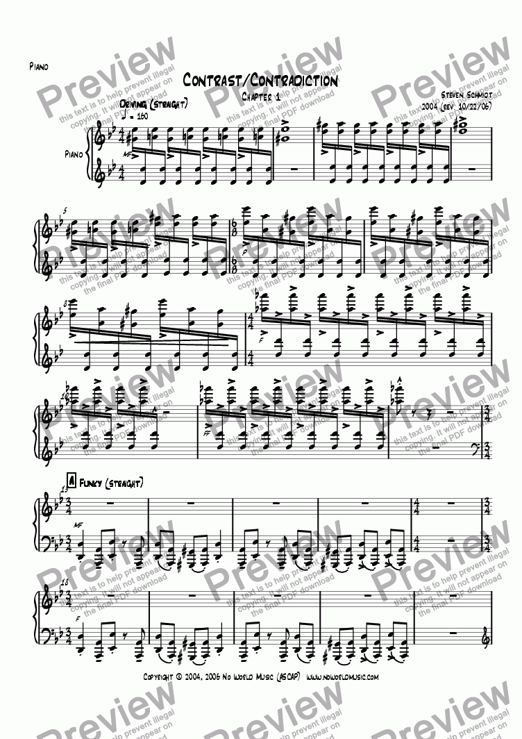 page one of the Piano part from Contrast/Contradiction