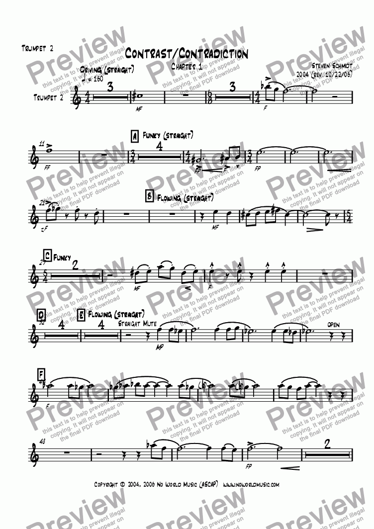 page one of the Bb Trumpet 2 part from Contrast/Contradiction