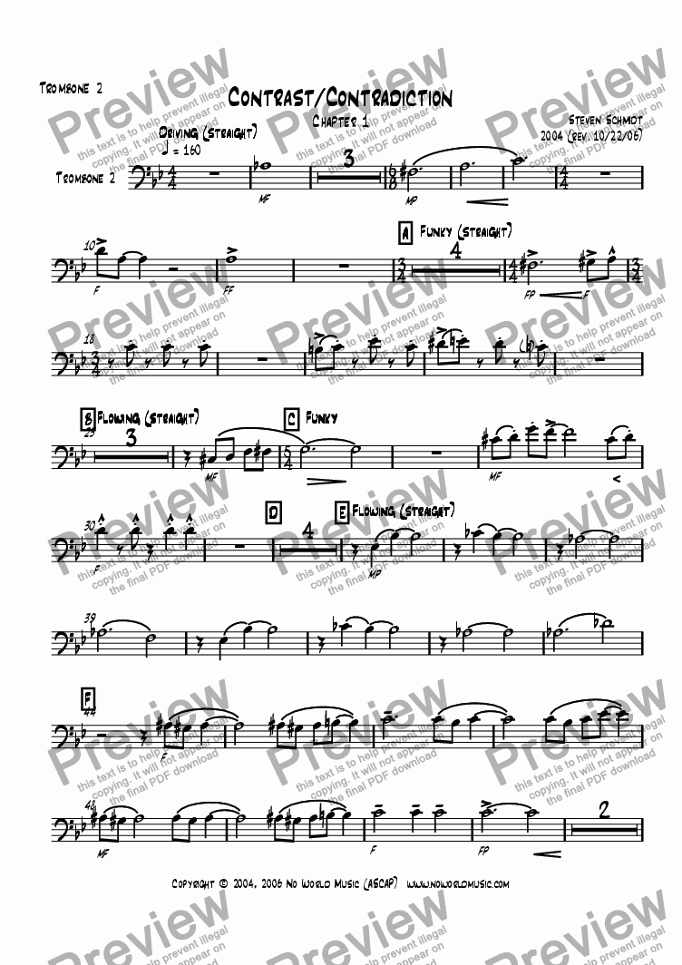 page one of the Trombone 2 part from Contrast/Contradiction