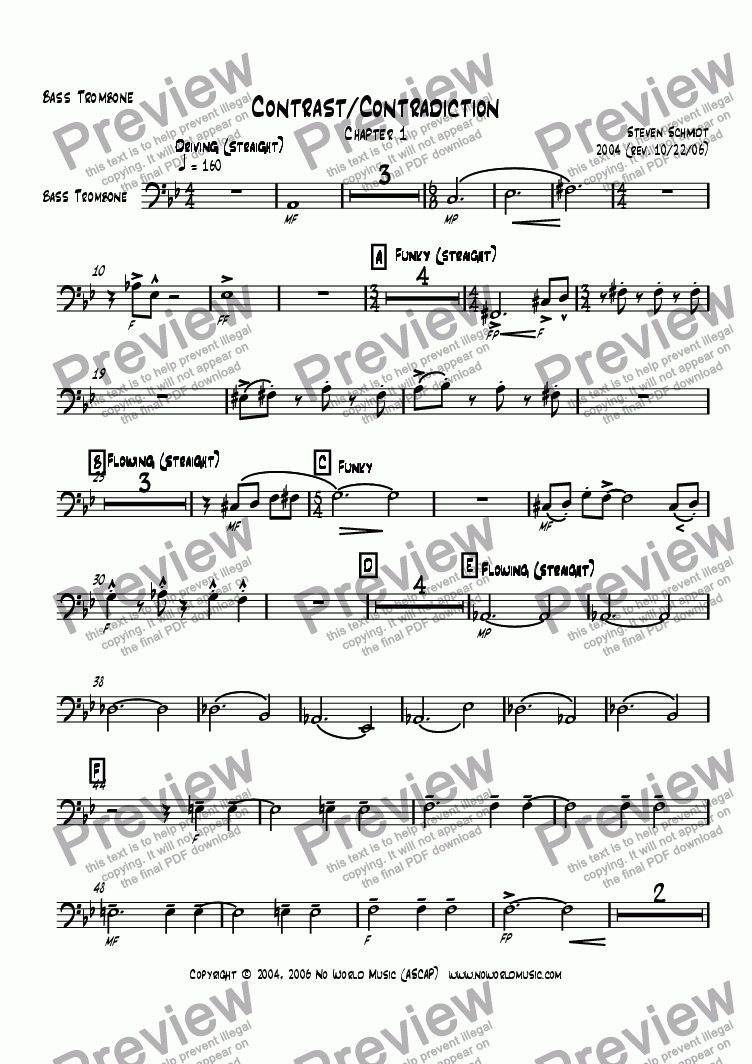 page one of the Trombone 4 (Bass) part from Contrast/Contradiction