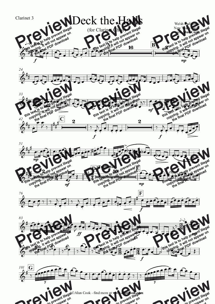 page one of the Clarinet 3 part from Deck the Halls (Clarinet Choir)