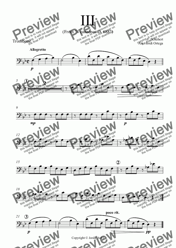 page one of the Trombone part from Schubert - 4 canzonas D 688 - 3rd Canzona