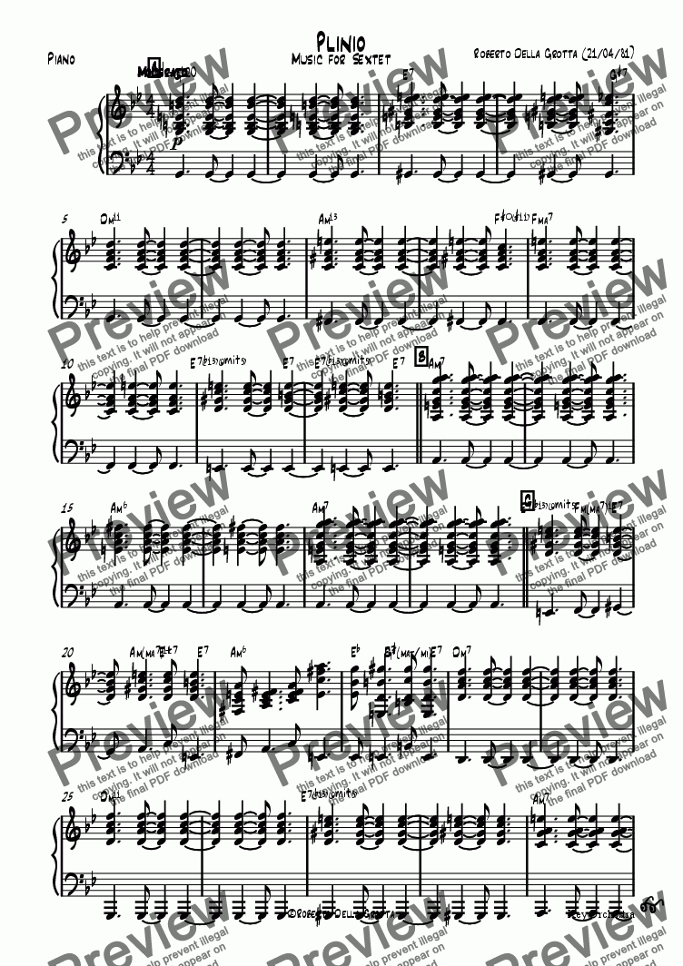 page one of the Piano part from Plinio
