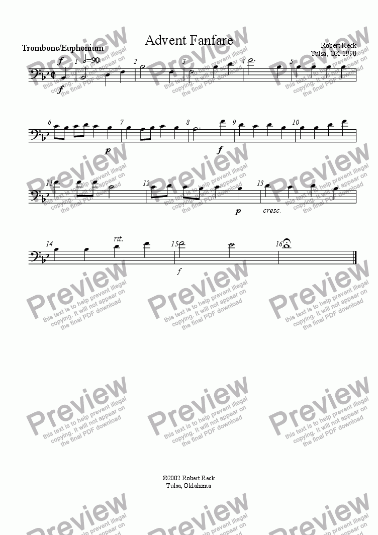 page one of the Trombone or Euphonium part from Advent Fanfare (Brass quartet, quintet, or choir