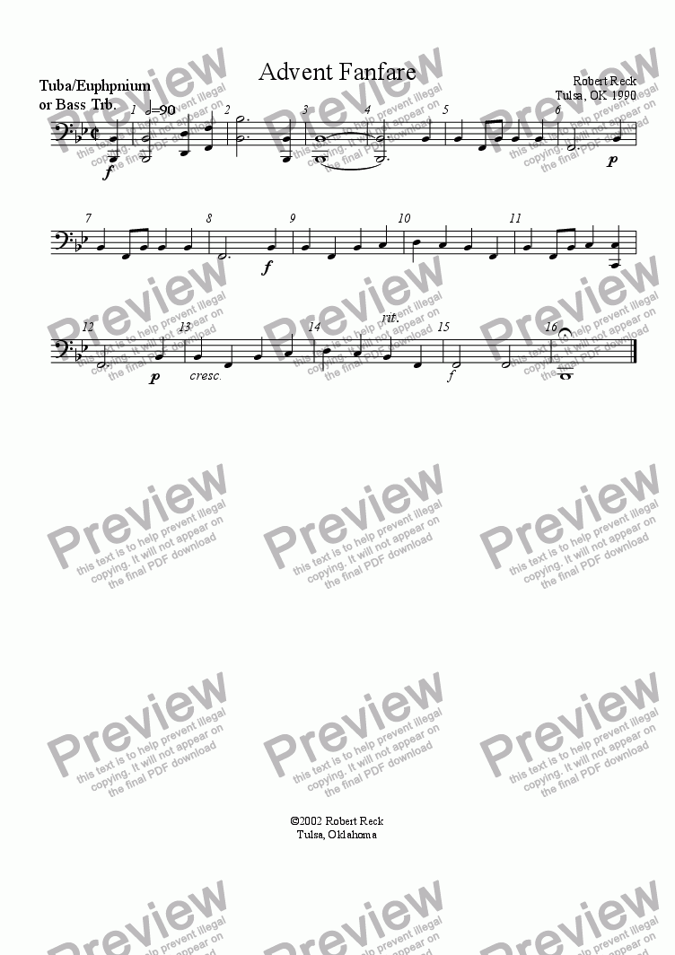 page one of the Tuba, Euphonium, or Bass Trombone part from Advent Fanfare (Brass quartet, quintet, or choir