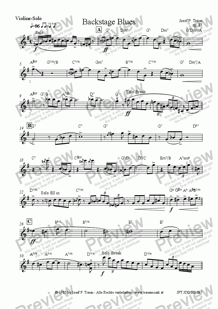 page one of the Violin-Solo part from Backstage Blues (JCO5b/Score & Parts)
