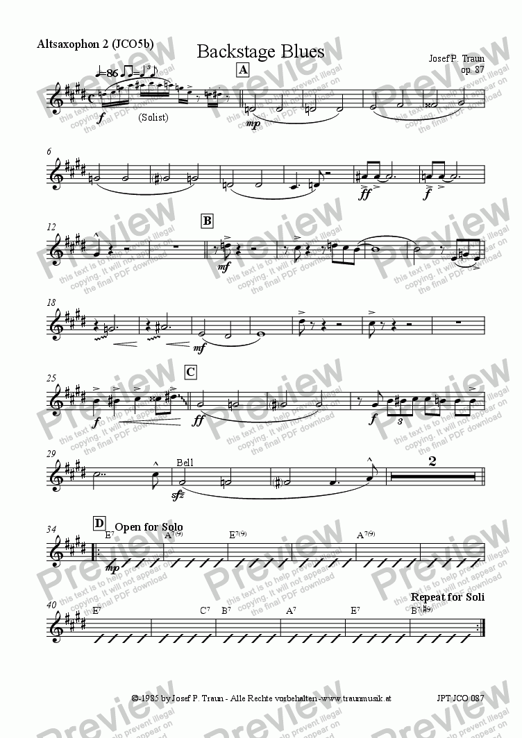 page one of the Altsaxophon 2 (JCO5b) part from Backstage Blues (JCO5b/Score & Parts)