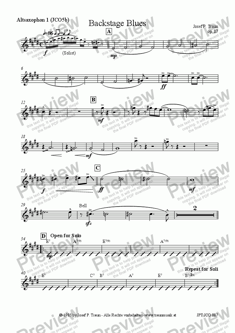 page one of the Altsaxophon 1 (JCO5b) part from Backstage Blues (JCO5b/Score & Parts)