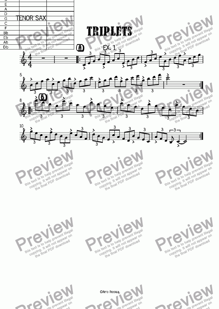 page one of the Tenor Sax part from Triplets ex.1