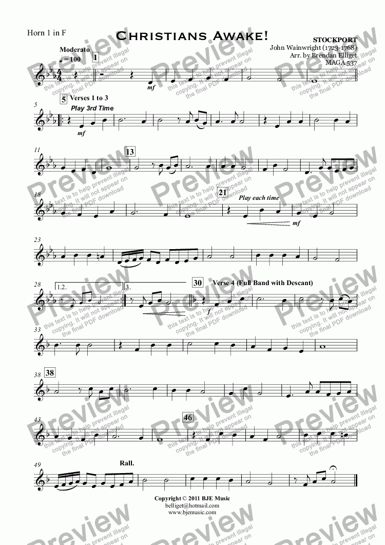 page one of the Horn 1 in F part from Christians Awake! (Christmas) - Concert Band