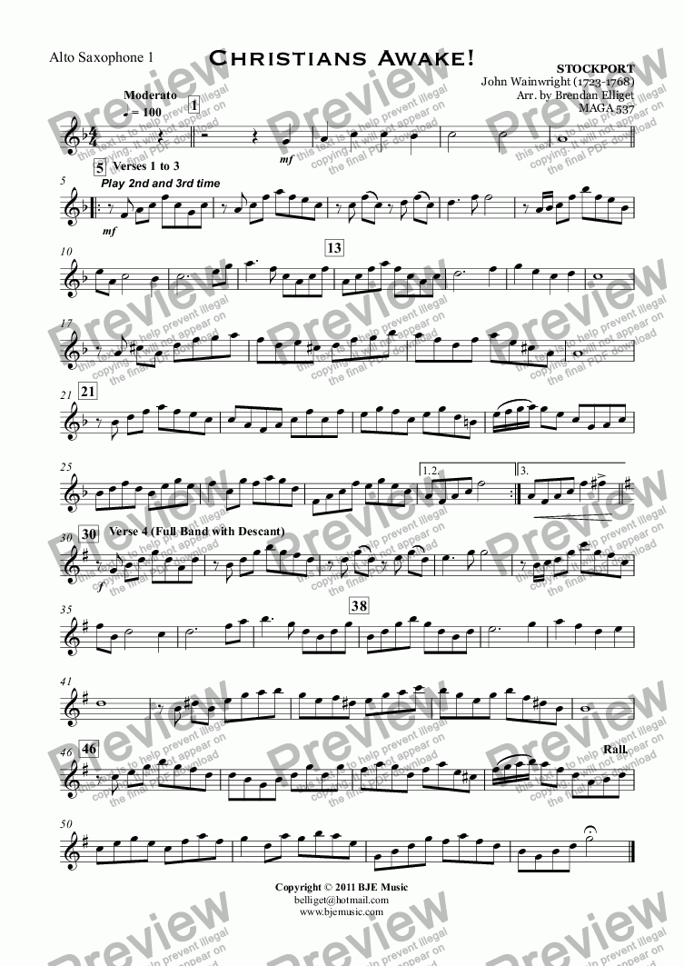 page one of the Alto Saxophone 1 part from Christians Awake! (Christmas) - Concert Band