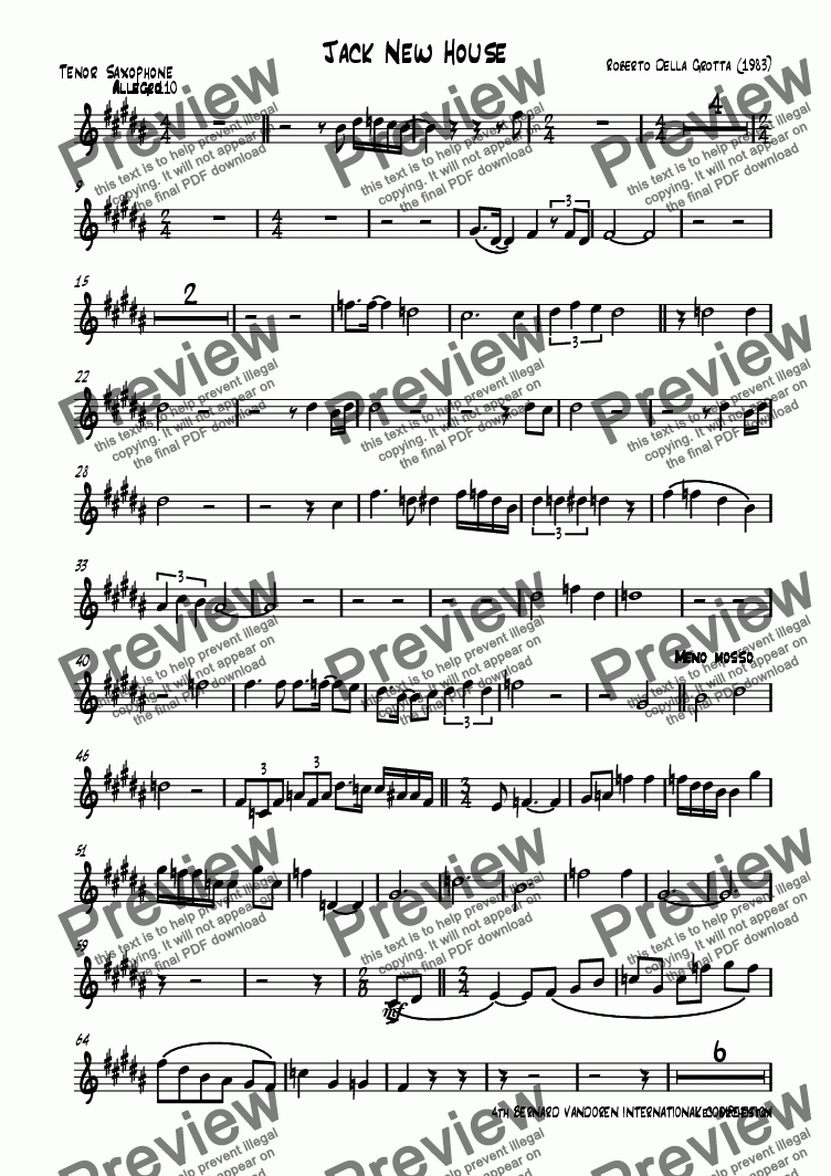 page one of the Tenor Saxophone part from Jack New House