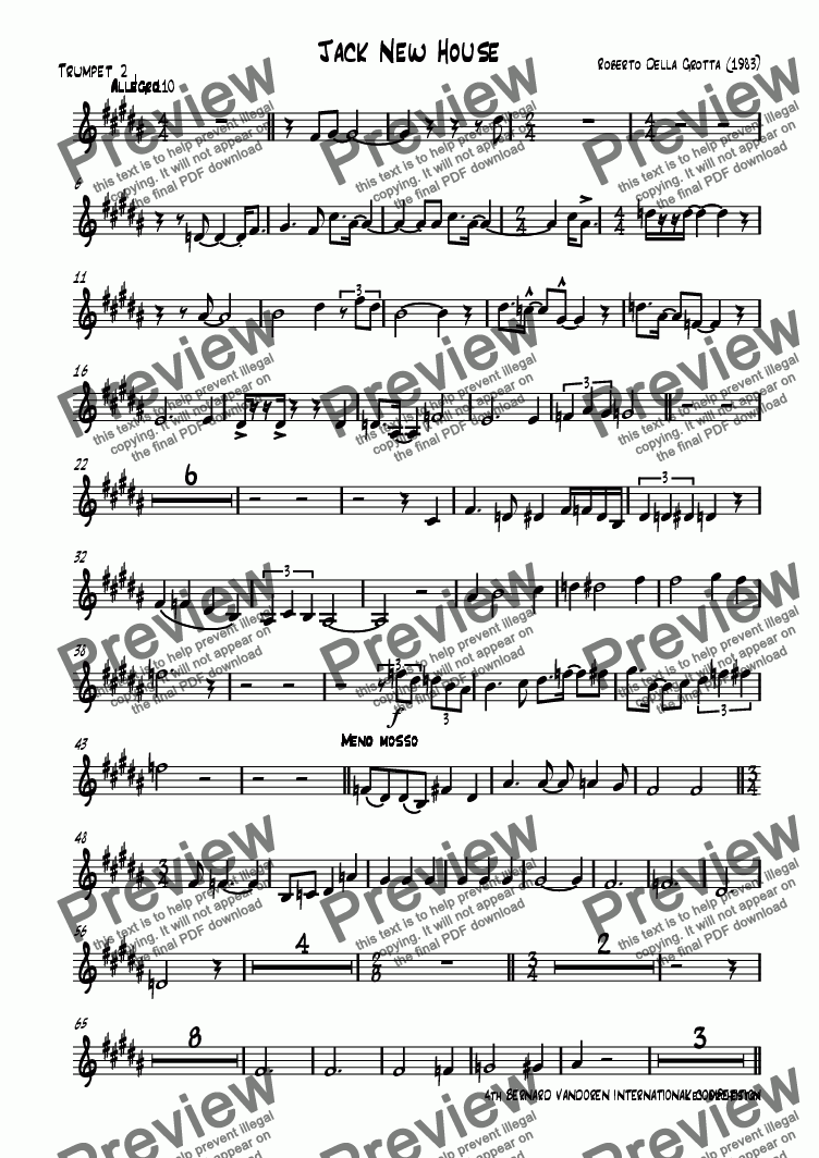 page one of the Trumpet in Bb 2 part from Jack New House