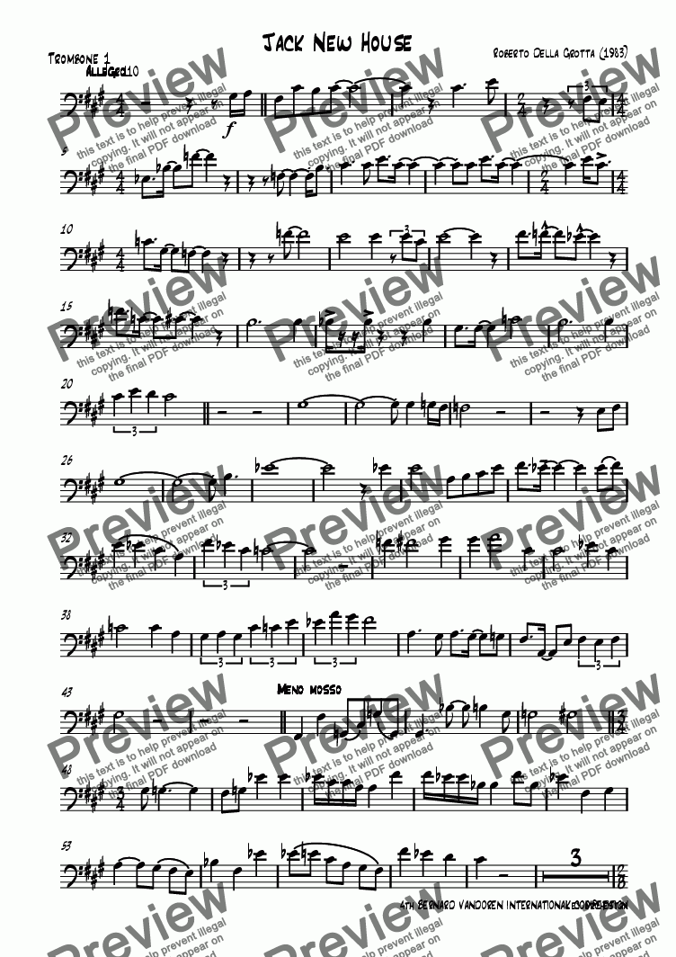 page one of the Trombone 1 part from Jack New House