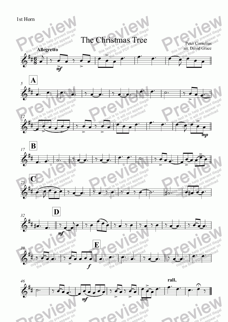 page one of the 1st Horn part from The Christmas Tree [Cornelius]