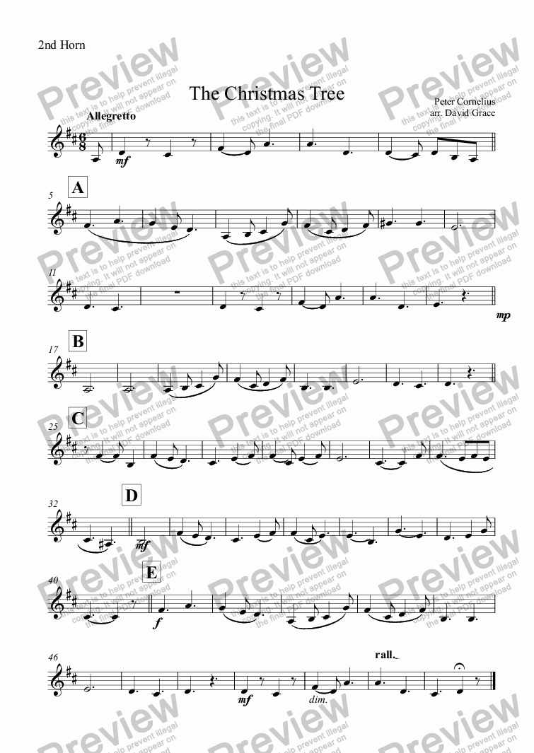 page one of the 2nd Horn part from The Christmas Tree [Cornelius]