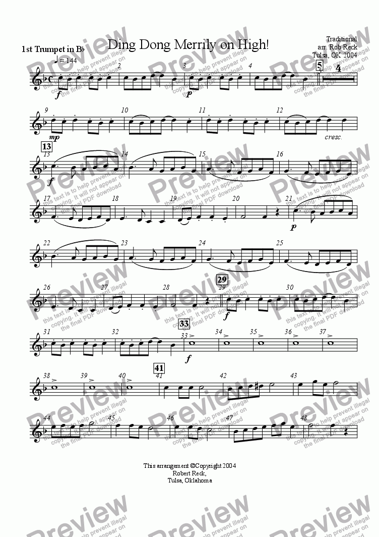 page one of the Trumpet 1 part from Ding Dong Merrily on High (Brass Sextet)