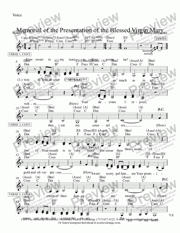 page one of the Voice part from Responsorial Psalm - Friday - Memorial of the Presentation of the Blessed Virgin Mary, Yr. A