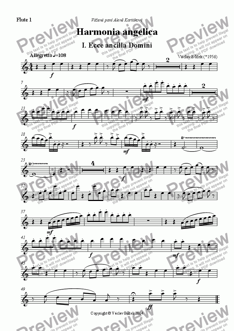 page one of the flute 1 part from Harmonia angelica