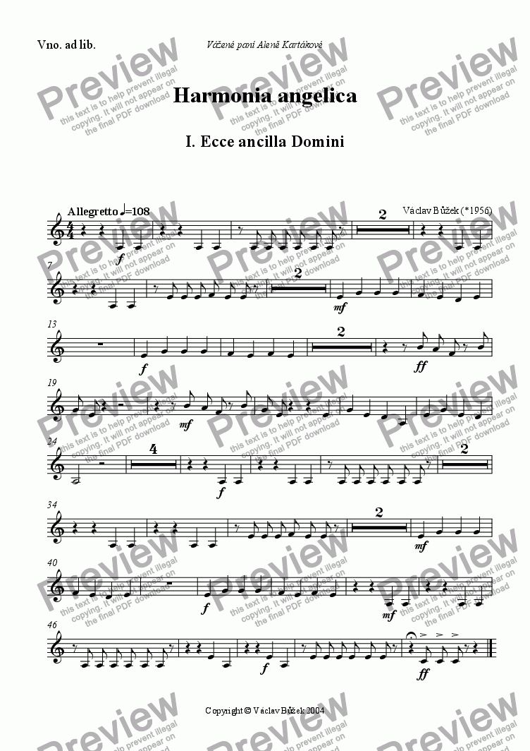 page one of the violino ad.lib. part from Harmonia angelica