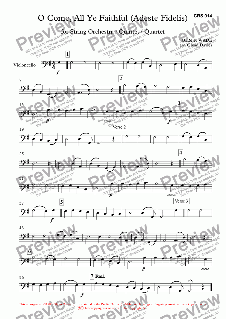 page one of the Violoncello part from O Come, All Ye Faithful (Adeste Fidelis)