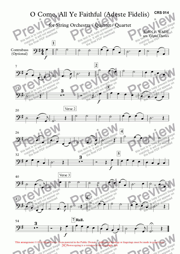 page one of the Contrabass (Optional) part from O Come, All Ye Faithful (Adeste Fidelis)