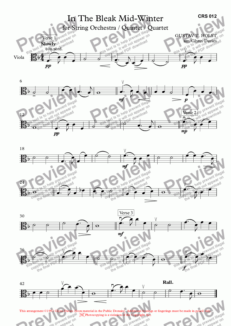 page one of the Viola part from In The Bleak Mid-Winter