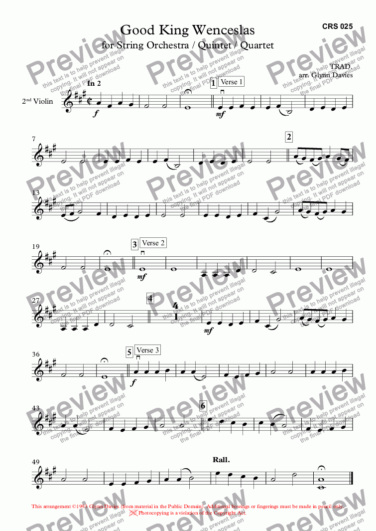 page one of the 2nd Violin part from Good King Wenceslas