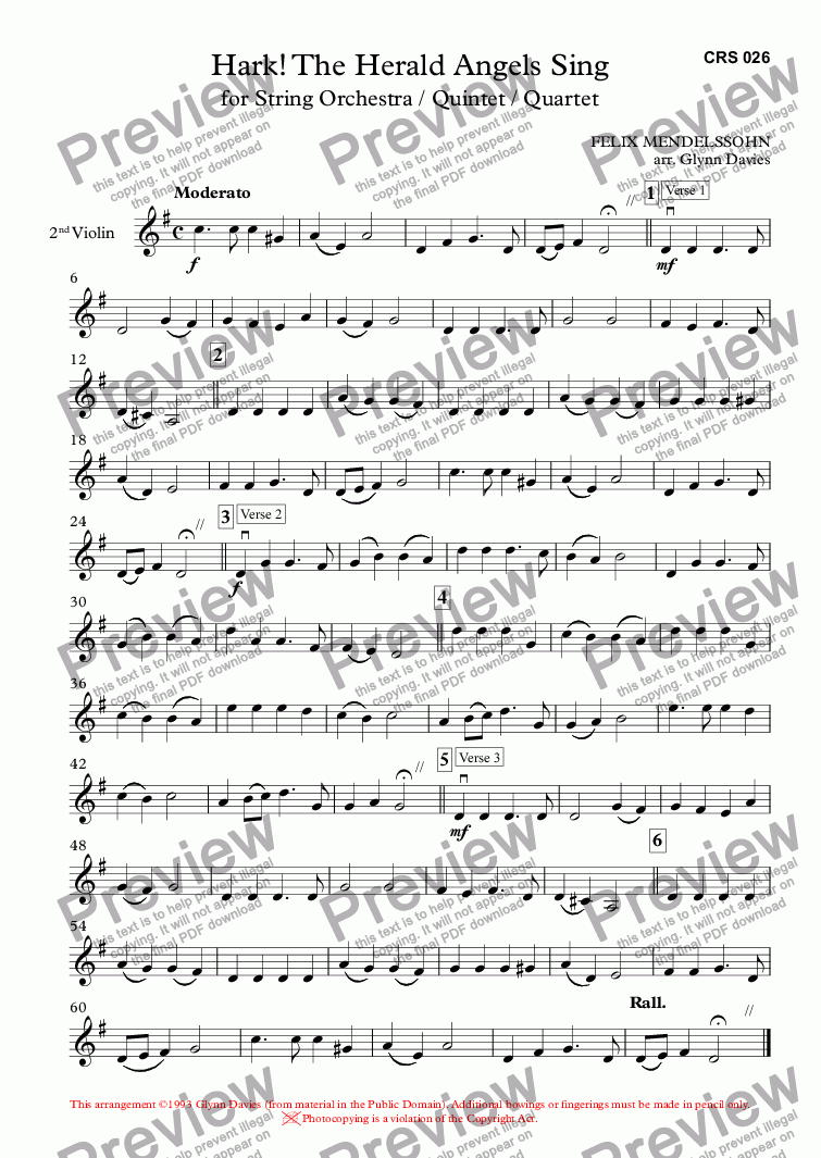 page one of the 2nd Violin part from Hark! The Herald Angels Sing