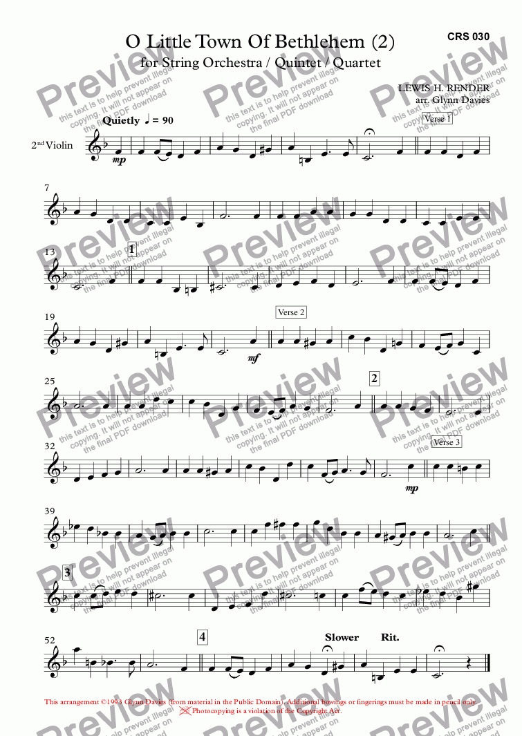 page one of the 2nd Violin part from O Little Town Of Bethlehem (2)