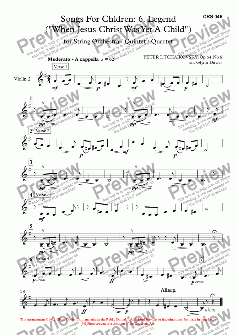 "page one of the Violin 2 part from 16 Songs for Children, Op.54 No.6 Legend (""When Jesus Christ Was Yet A Child"")"