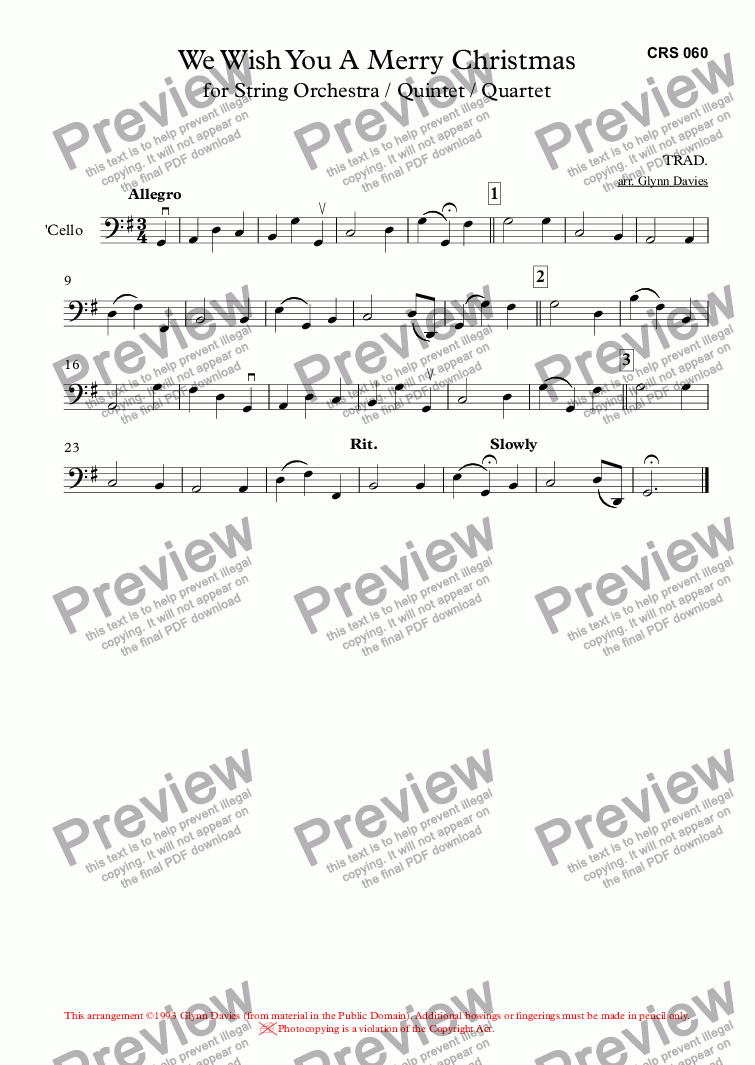 page one of the 'Cello part from We Wish You A Merry Christmas